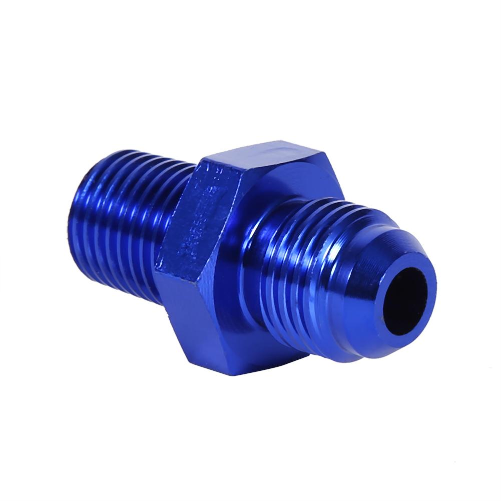 Aluminum 6AN AN6 Flare to 1//4 NPT Male Hose Fitting Adapter Union Fuel Oil Line Pipe Connector JIC 6AN 9//16-18 Male Flare to 1//4 NPT Male Thread Blue Anodized
