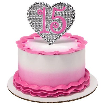 La Quinceañera Silver Heart Shaped Pink or Purple 15 Years Old Cake Topper - 1 (Best Cake For 1 Year Old)