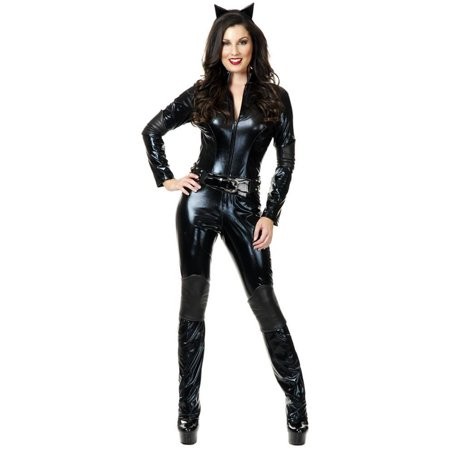 Womens  Wet Look PVC Black Catsuit Too  Dominatrix Costume - Lion Catsuit