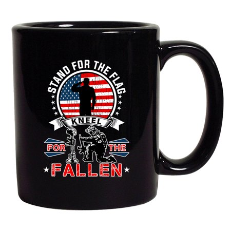 I Stand For The Flag Kneel For The Fallen Patriotic (A) DT Coffee 11 Oz Black