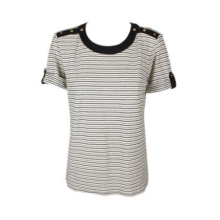 277b63f7 Lauren Ralph Lauren Tan Navy Tab-Sleeve Striped Button-Shoulder Top L