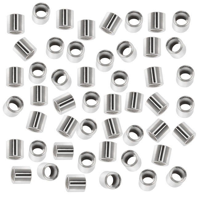 Tube Crimp Beads, 1.5x1.5mm, 50 Pieces, Silver Plated