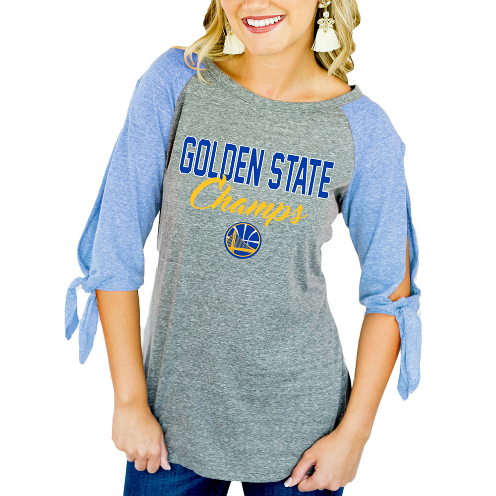 Golden State Warriors Women's 2018 NBA Finals Champions Tie 3/4-Sleeve Raglan T-Shirt - Royal