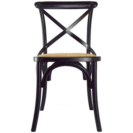 2xhome Black Mid Century Modern Farmhouse Antique Cross Back Chair With X Back Assembled Solid Real Wooden Frame Antique Style Dining Chair Side Armless For Accent Chairs Woven Kitchen Task Work Desk ()