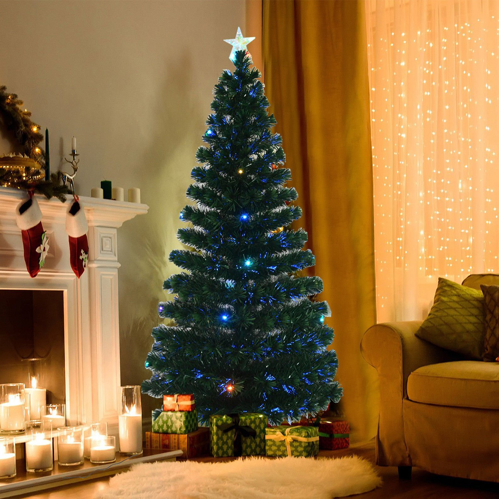 Indoor Artificial Fiber Optic And Led Prelit Holiday Christmas Tree