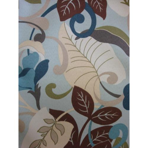 Seacrest Ottoman in Coffee Bean-Fabric:Blue Leaves