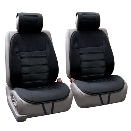 FH Group Ultra Fine Polyester Front Seat Cushions, Pair, Black ()