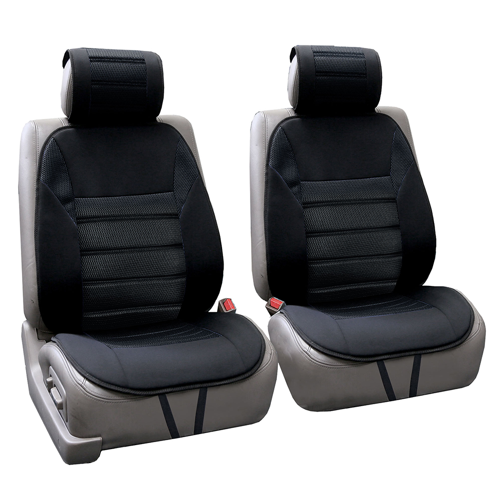 FH Group Ultra Fine Polyester Front Seat Cushions, Pair, Black
