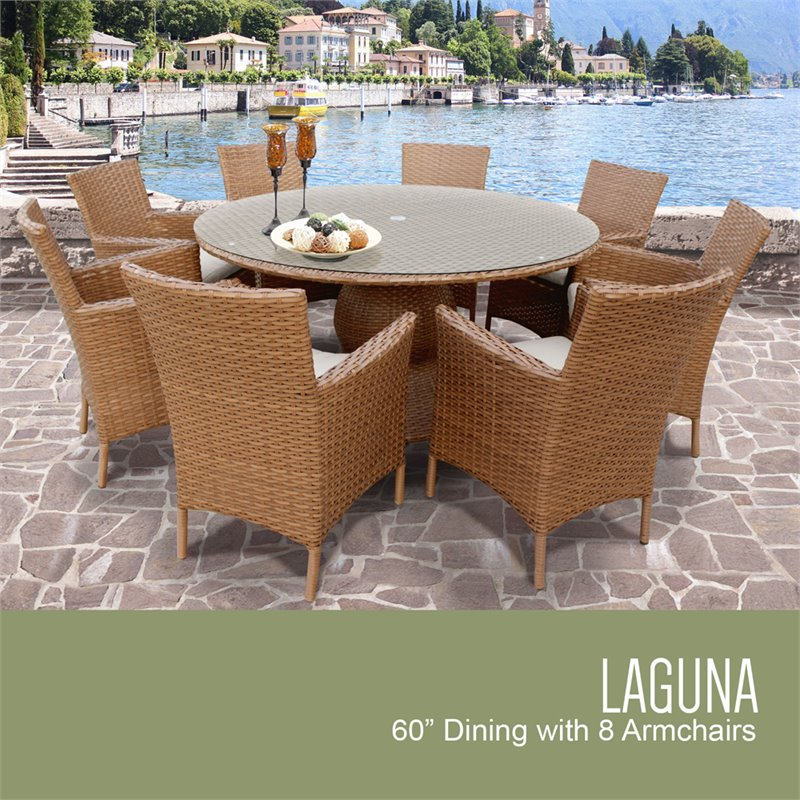 tkc laguna 9 piece 60 round glass top patio dining set. Black Bedroom Furniture Sets. Home Design Ideas