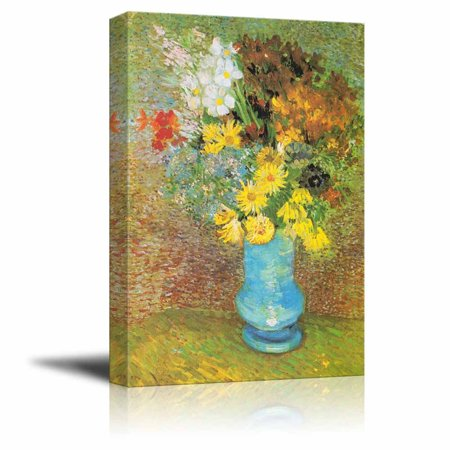 wall26 Flowers in a Blue Vase, 1887 by Vincent Van Gogh - Canvas Print Wall Art Famous Oil Painting Reproduction - 16