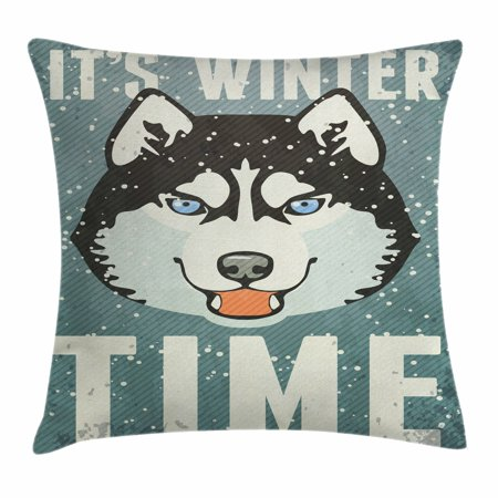 Alaskan Malamute Throw Pillow Cushion Cover, It's Winter Time Retro Poster Dog Face Falling Snowflakes, Decorative Square Accent Pillow Case, 16 X 16 Inches, Slate Blue Black White, by Ambesonne ()