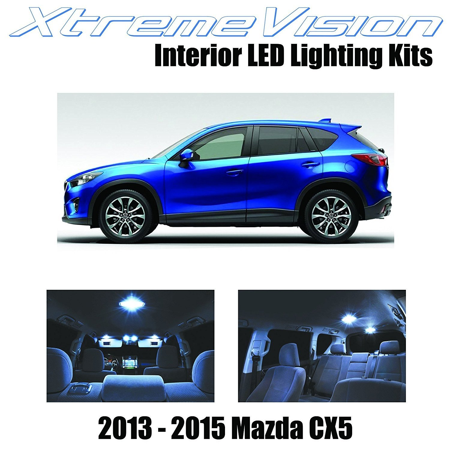XtremeVision LED for® Mazda CX-5 CX5 2013-2015 (9 Pieces) Cool White Premium Interior LED Kit Package + Installation Tool