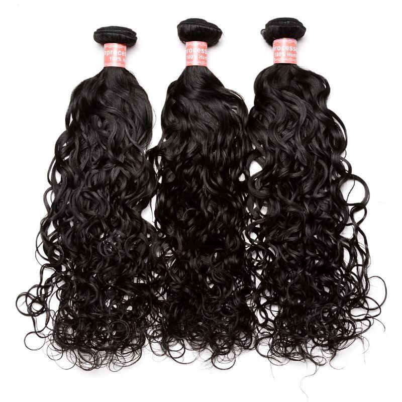 "CARA Brazilian Virgin Hair Water Wave 3 Bundles Human Hair Extensions, 10""12""14"""