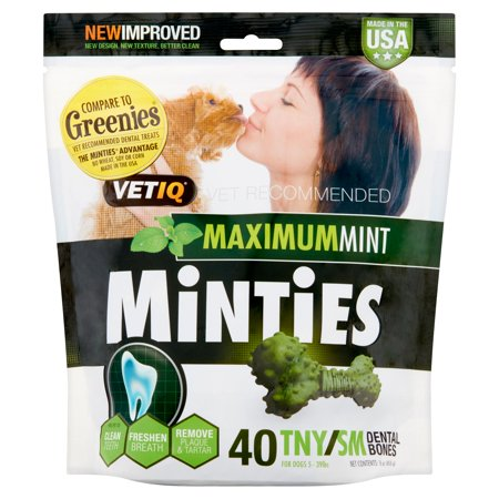Minties By Vetiq Dog Dental Bone Chew  40 Tny Sml