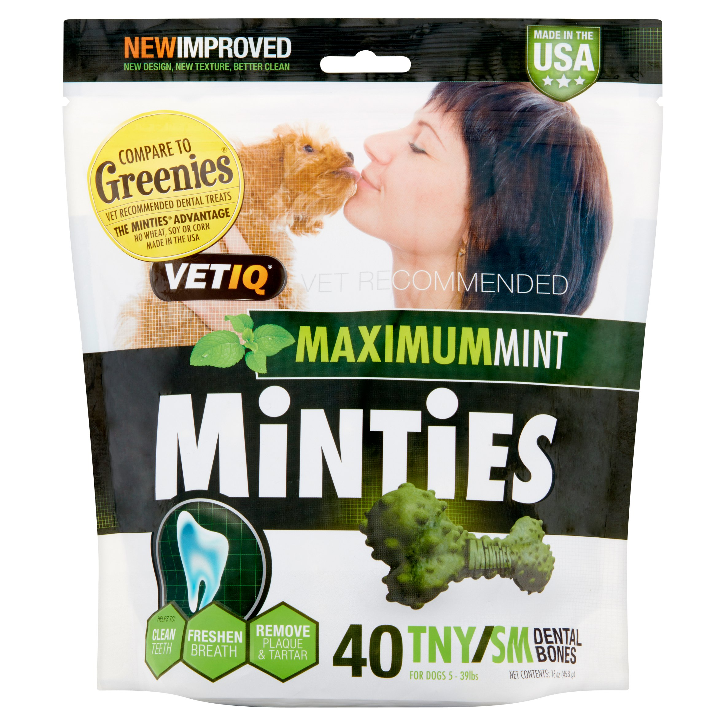 Minties Teeth Cleaner Dental Dog Treats Tiny/Small, 40 Count
