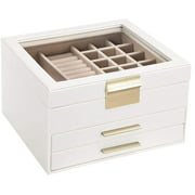 Best Jewelry Boxes - SONGMICS Jewelry Box with Glass Lid, 3-Layer Jewelry Review