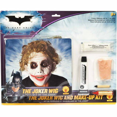Batman Dark Knight Deluxe Joker Wig/Makeup Adult Halloween Costume Accessory Kit