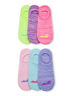 Avia Womens 6 Pack Comfort Cuff No Show Liner Socks