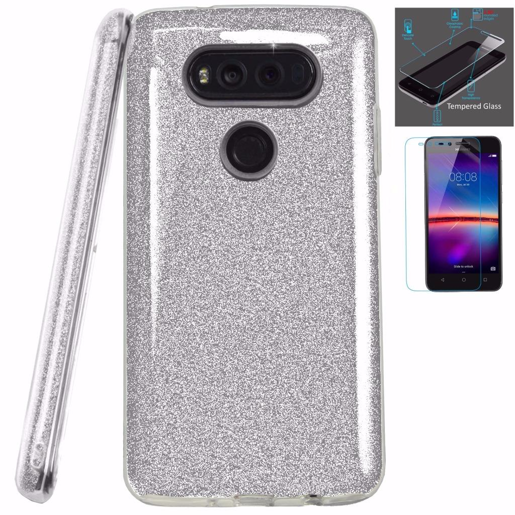 For LG G6 H872 VS988 Case Hybrid Glitter TPU On PC Hard Case + Tempered  Glass Screen Protector (Glitter Silver)