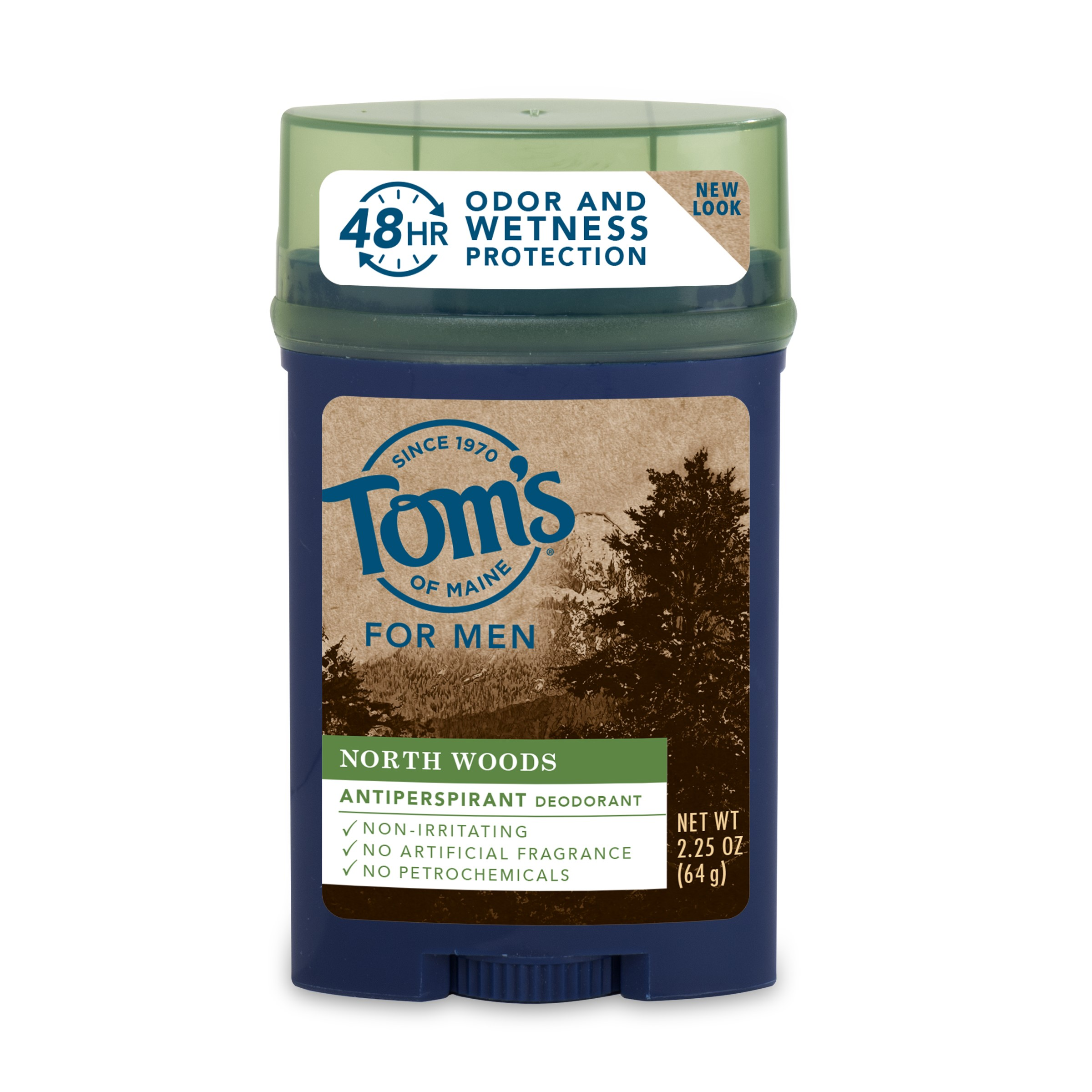 Tom's of Maine 24-Hour Long-Lasting Men's Antiperspirant and Deodorant, Northwoods, 2.25 Oz