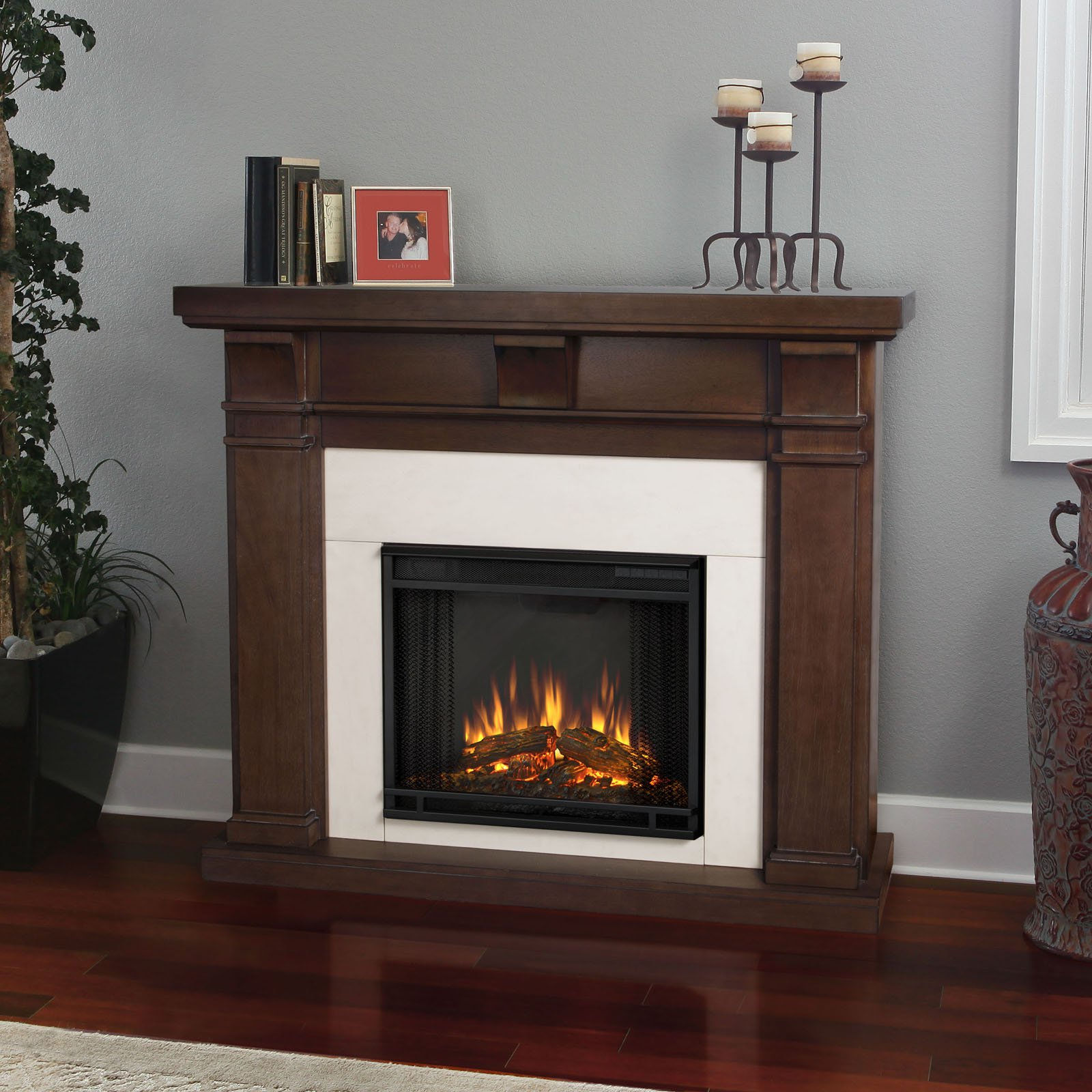 Real Flame Porter Electric Fireplace - Vintage Black Maple