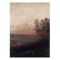 Paysage au soleil couchant, au premier plan, un berger et son troupeau Print Wall Art By Odilon Redon