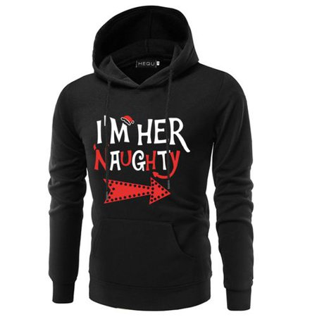 KABOER I'm Her Naughty Couple Hoodie Sweater Creative Print Sweater Black Wild Sweater Tops Casual Fashion Couple Tops - Santa Has Been Naughty Sweater