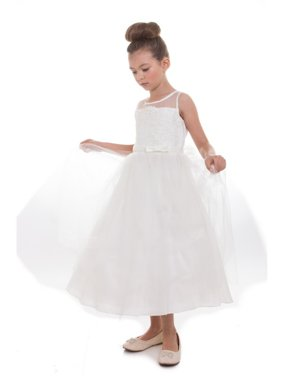 14b53a41efe7 Product Image Little Girls Ivory Scalloped Lace Tulle Flower Girl Dress.  Product TitlePrecious KidsLittle ...