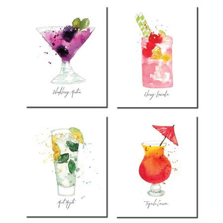 Fun, Colorful Watercolor Style Blackberry Martini, Cherry Limeade, Mint Mojito, Tequila Sunrise; Four 8x10in Poster Prints (Cherry Bomb Poster)