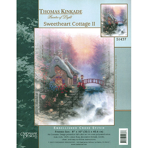 "M C G Textiles Thomas Kinkade Sweet Heart Cottage II Embellished Cross Stitch Kit, 10"" x 8"", Printed"
