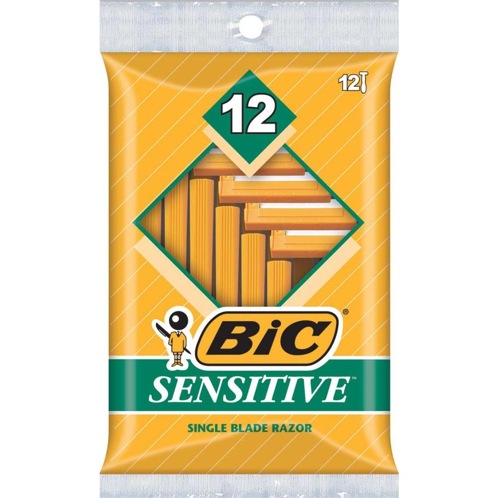 BIC Sensitive Shaver, Men's Disposable Razor, 12-pack