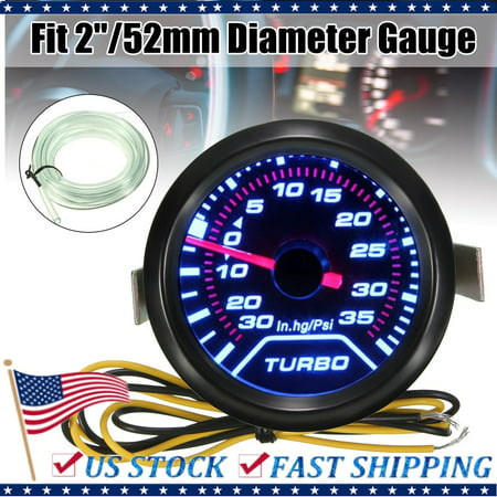 2.5 Inch Dial Gauge - 1 Set Universal 52mm 2 Inch White LED Turbo Boost Pressure Gauge Smoked Dials Face Psi