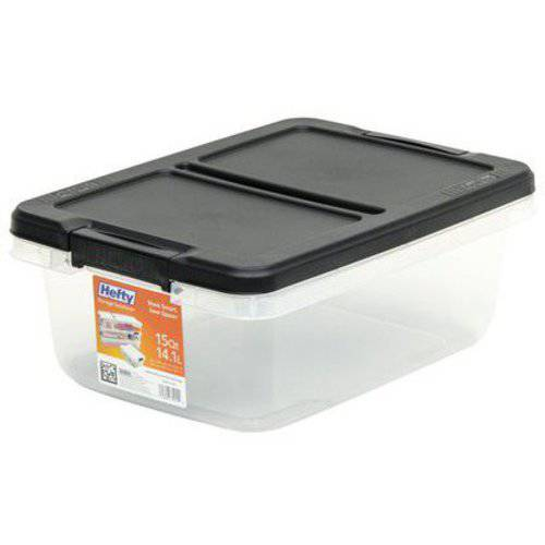 Hefty-15 Qt Storage Bin -clear-black - Walmart.com