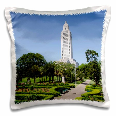3dRose Capitol Building, Baton Rouge, Louisiana USA - US19 CMI0015 - Cindy Miller Hopkins - Pillow Case, 16 by - Baton Rouge Bars Halloween