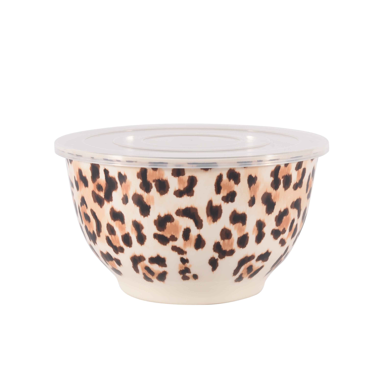 Better Homes Gardens 6 Piece Melamine Serving Bowl Set With Lids Cheetah Print Walmart Com Walmart Com