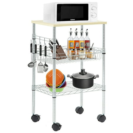 Heavy Duty Utility Cart Wire 3 Tier Rolling Cart Organizer NSF Kitchen Cart On Wheels Metal Microwave Cart Large With Wire Shelving And Microwave Table Heavy Duty Commercial Grade , Wood/Chrome ()