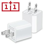 Charger, 5V 1A Certified Universal USB AC Adapter Charger Portable Travel High-Speed 1.0A Port Power Output Mini USB Wall Charger Cube for Apple iPhone Samsung HTC Android LG iPod Nokia (White) 2-PACK
