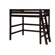 Camaflexi Twin Size High Loft Bed - Mission Headboard - Lateral Ladder - Natural Finish