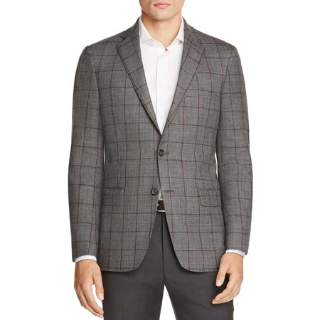 Hart Schaffner Marx Men's New York Worsted Wool Plaid Sportcoat 42 Long Grey ()