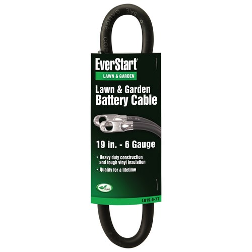 Everstart LG19-6-77 6-Gauge Black Lawn and Garden Battery Cable, 19-Inches