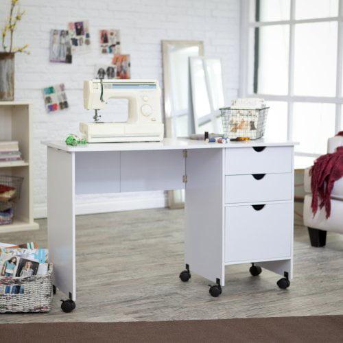 Beldin Mobile Sewing Desk - White