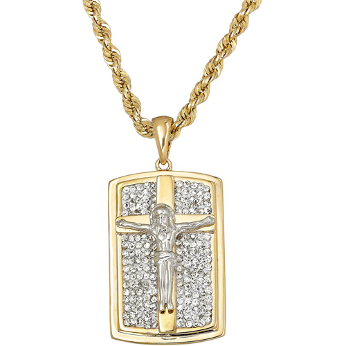 Crystal Accent 18kt Gold over Sterling Silver Dog Tag with Crucifix Cross Pendant, 22""