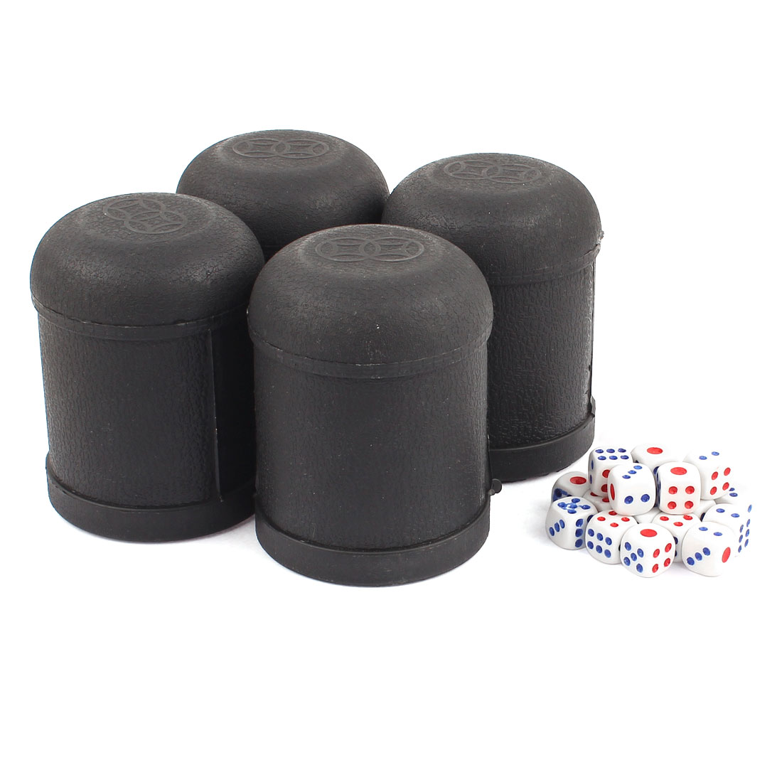 Game Dice Roller Cup Black 4 Pcs each w 5 Dices