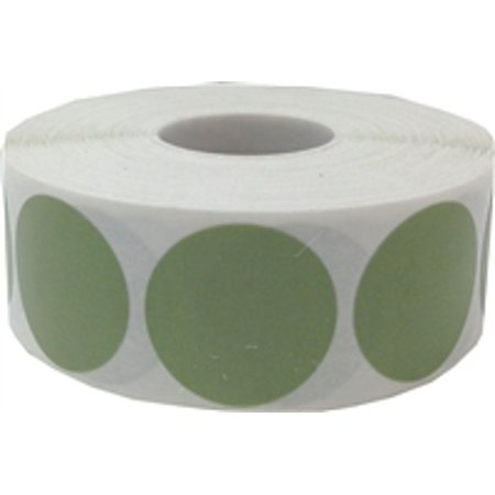Olive Green Circle Dot Stickers, 1 Inch Round, 500 Labels on a Roll for $<!---->