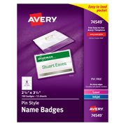 Avery Pin Style Name Badges, 2-1/4