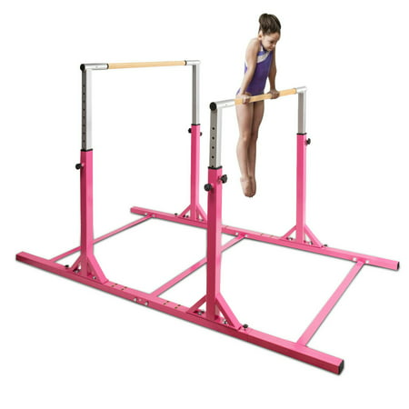 Costway Kids Gymnastics Parallel Bars Double Horizontal Bars Adjustable Width Height