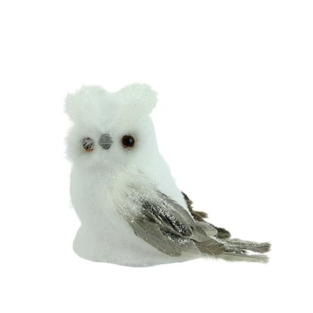"""7.25"""" Sparkling White and Gray Horned Owl Christmas Tabletop Decoration - image 2 of 2"""