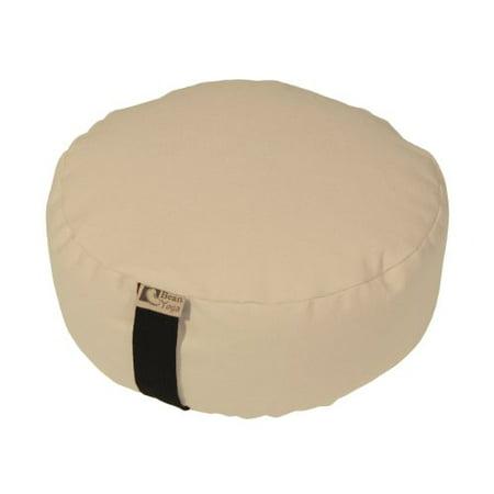NATURAL - Round Zafu Meditation Cushion - Yoga - 10oz Cotton - Organic Buckwheat Fill - Made in USA ()