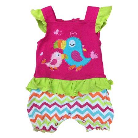 Infant Girls Baby Romper Pink Toucan Stripe Parrot Bodysuit Bird Creeper
