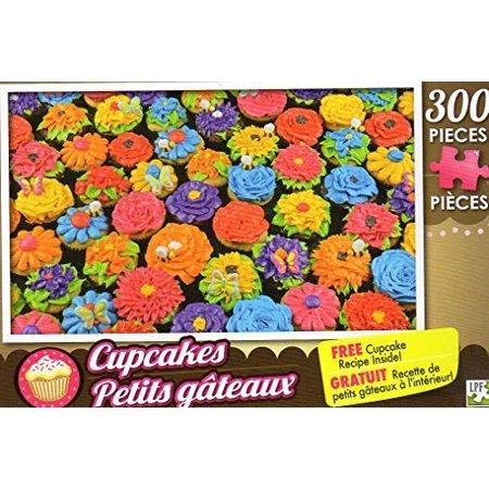 Spring Flower Cupcakes - 300 Pieces Jigsaw Puzzle + Free Cupcake Recipe Inside - image 1 de 1